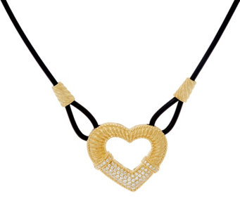 Judith Ripka 14K Clad Pave' Diamonique Heart Leather Necklace - J331037