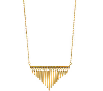 Stainless Steel Fringe Necklace with Crystal Accent - J331237
