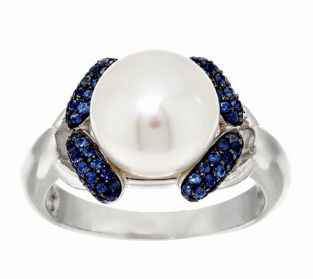 """As Is"" Honora Cultured Pearl 9.5mm & 0.20ct tw Sapphire Sterling Ring"
