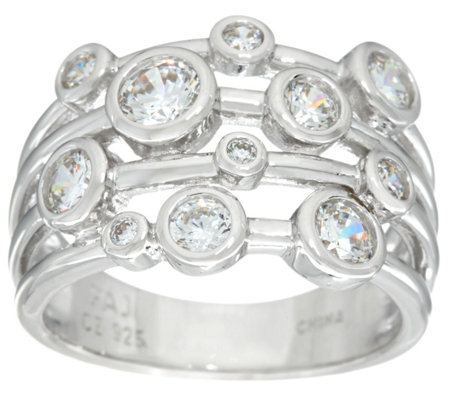 Diamonique Scatter Design Bezel Set Band Ring, Sterling