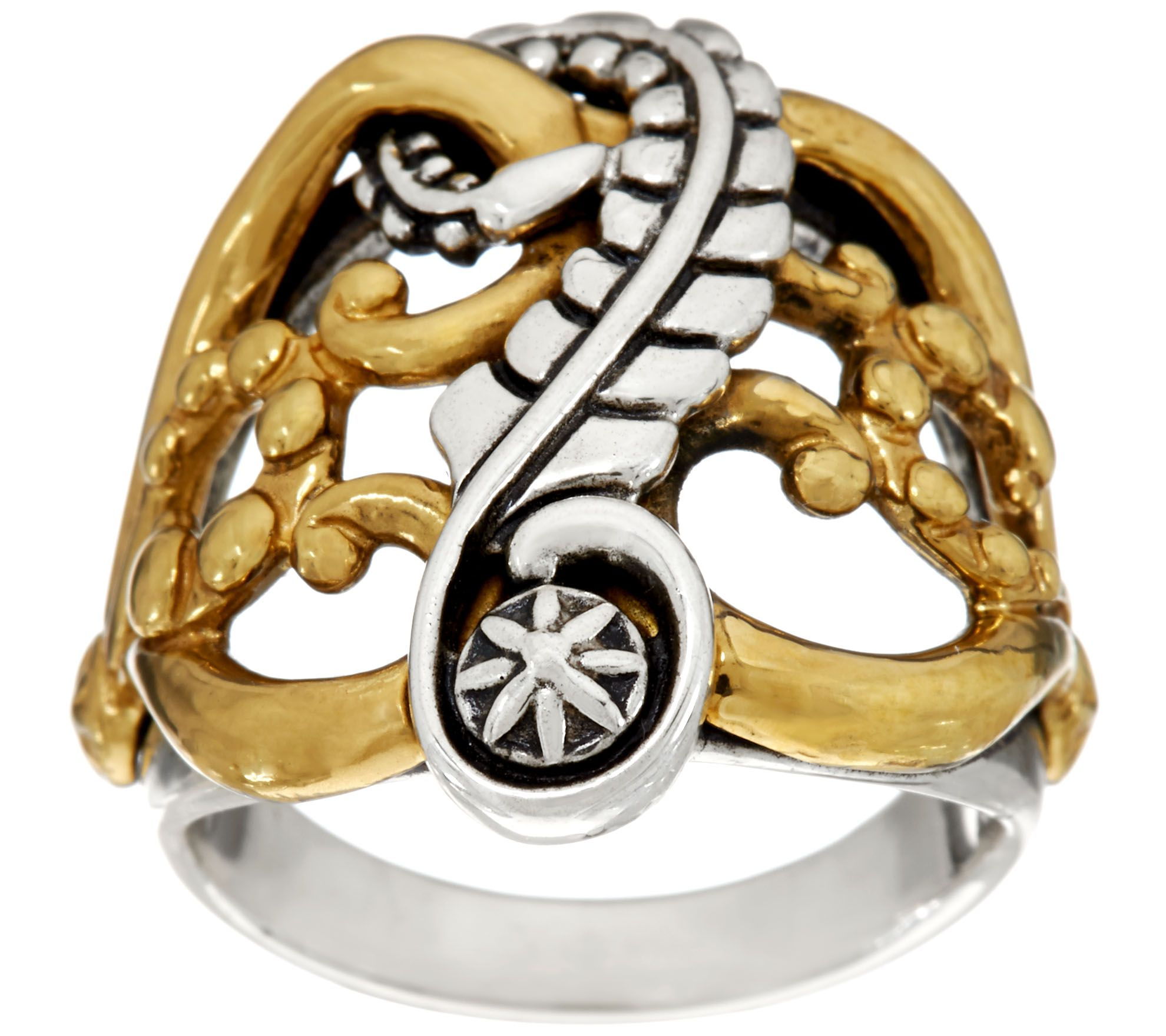American West Sterling Silver and Brass Leaf Scroll Design Ring