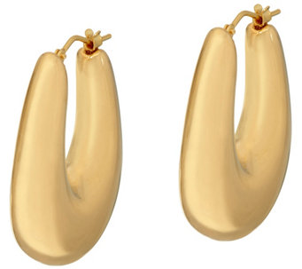"""As Is"" Oro Nuovo 1-1/4"" Graduated Oval Hoop Earrings, 14K - J334937"