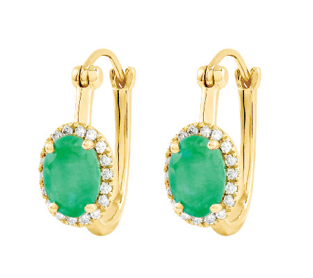 1.50 ct tw Oval Emerald w/ Halo Hoop Earrings,14K