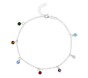 "Sterling 10"" Multi-Colored Bead Station Ankle Bracelet - J336437"