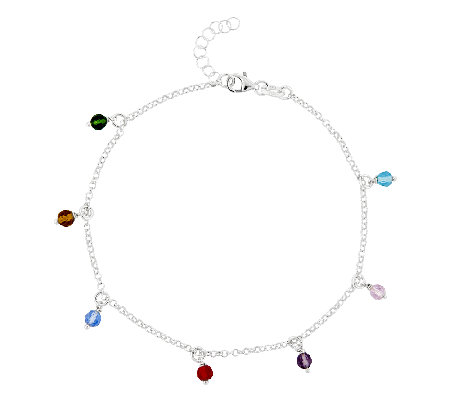 "Sterling 10"" Multi-Colored Bead Station Ankle Bracelet"