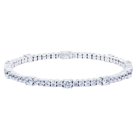 Diamonique Flexible Tennis Bangle, Platinum Clad