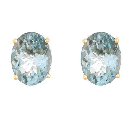 8x6mm Oval Precious Gemstone Stud Earrings, 14KGold