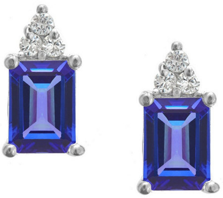 Premier Emerald-Cut Tanzanite & Diamond Earrings, 14K