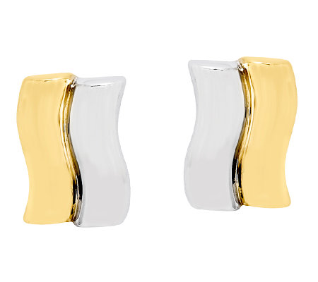 Double-Wave Fancy Post Earrings, 14K Gold