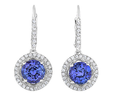 2.25cttw Tanzanite Halo Lever Back Earrings, Sterling