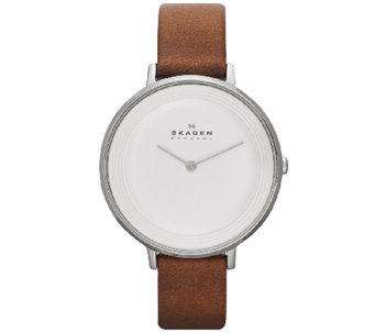Skagen Women's White Dial Brown Leather Strap Watch - J339337