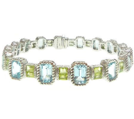"Judith Ripka Sterling 7-3/4"" Multi-Gemstone Tennis Bracelet"