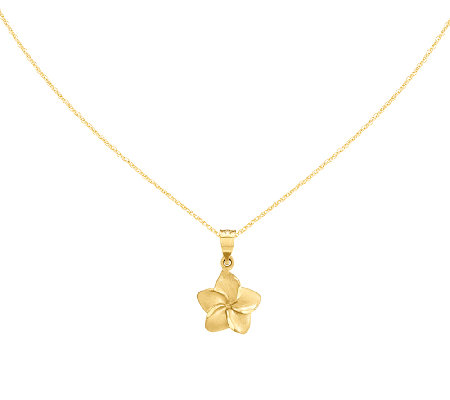 "Plumeria Floral Pendant with 18"" Chain, 14K"