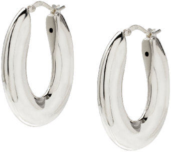 "UltraFine Silver 1-1/4"" Oval-Shaped Polished Hoop Earrings - J340037"