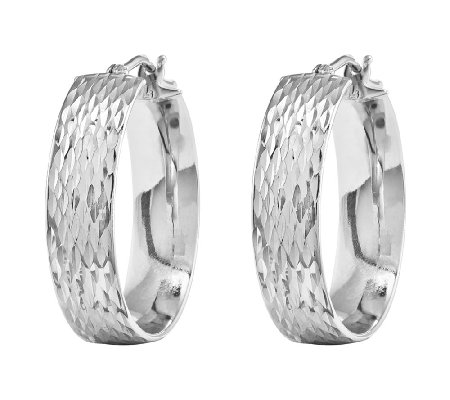 Diamond-Cut Round Hoop Earrings, 14K White Gold