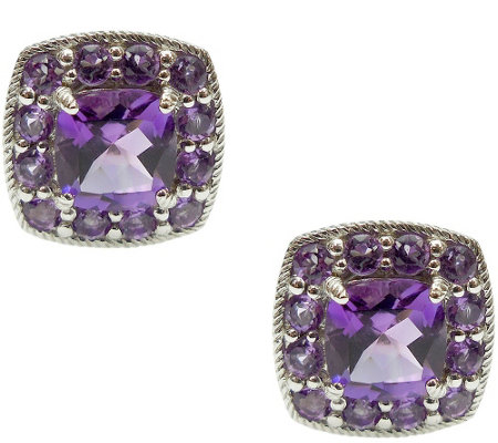 Judith Ripka Sterling 2.30cttw Gemstone Halo Stud Earrings