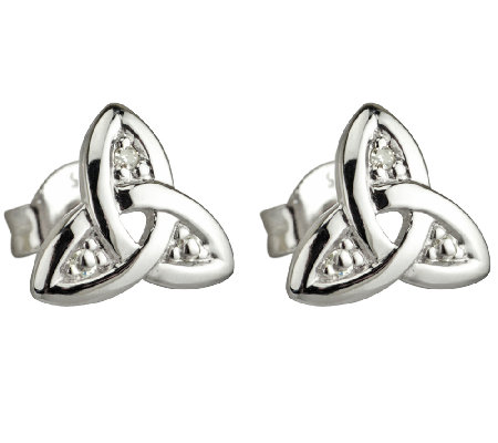 Solvar 14K White Gold & Diamond Trinity Knot Stud Earrings