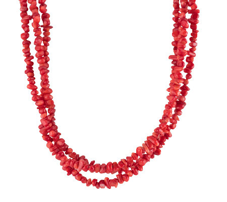 "American West 19"" Three-Strand Red Coral BeadedNecklace"
