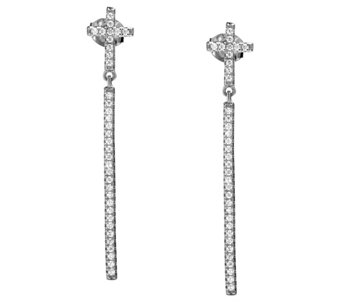 Vicenza Silver Sterling Crystal Cross w/ StickDangle Earrings - J341537