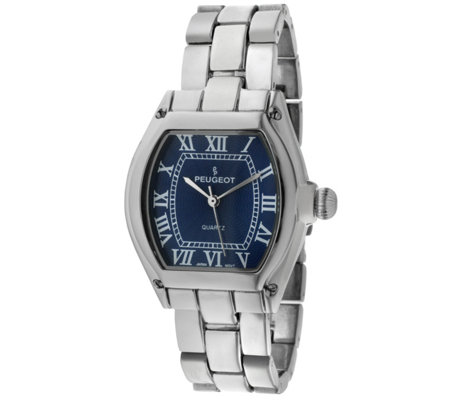Peugeot Women's Silvertone Blue Dial Bracelet Watch