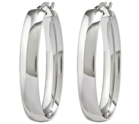 Sterling Silver Polished Oval Hoop Earrings by Silver Style