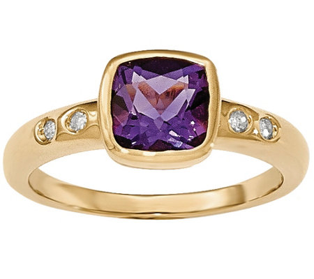 Gemstone and Diamond Accent Bezel Ring, 14K Yellow Gold
