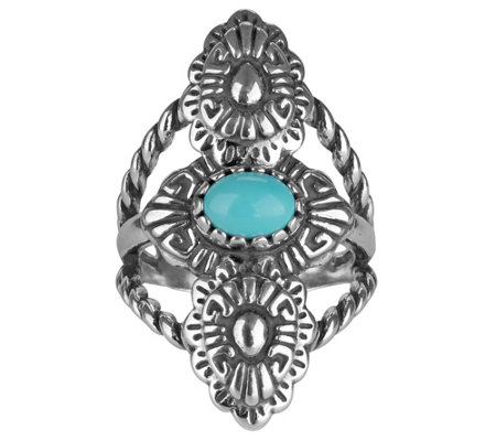 Sterling Turquoise Concha-Design Ring by American West