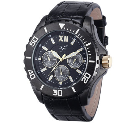 V19.69 Italia Men's Black Watch w/ Leather Strap