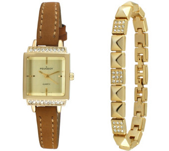 Peugeot Women's Goldtone Square Watch & Bracelet Gift Set - J344637
