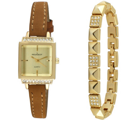 Peugeot Women's Goldtone Square Watch & Bracelet Gift Set