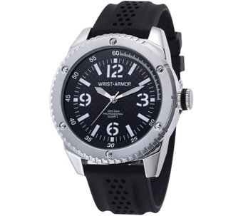 Wrist Armor C20 Watch with Black Faux Carbon Dial, Black Strap - J345737