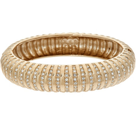 Grace Kelly Collection Simulated Diamond Ribbed Hinged Bangle