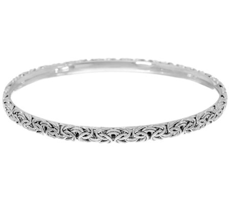 Sterling Silver Byzantine Slip-on Bangle Bracelet by Silver Style