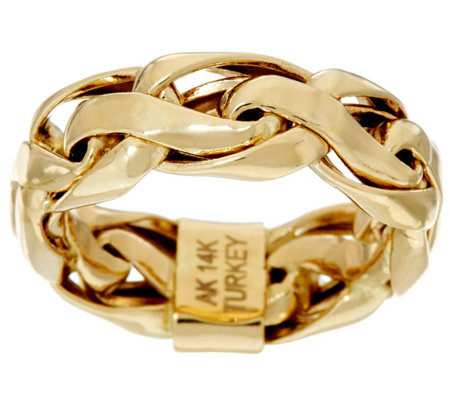 """As Is"" 14K Polished Bold Woven Wheat Band Ring"