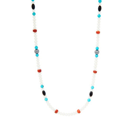 "American West Cultured Pearl & 24"" Gemstone Bead Necklace"