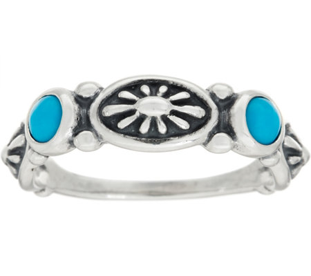 American West Sterling Silver & Gemstone Concha Band Ring
