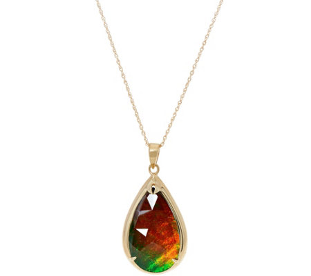 "Ammolite Triplet Pear Shaped Pendant on 18"" Chain, 14K"
