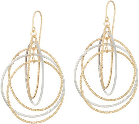 Italian Gold Textured & Polished Multi-circle Earrings 14K