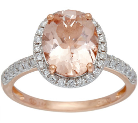 Oval Morganite & Pave' Diamond Ring, 1.80 cts 14K Gold