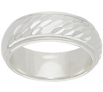 Sterling Silver Diamond Cut Inlay Band Ring by Silver Style - J349837