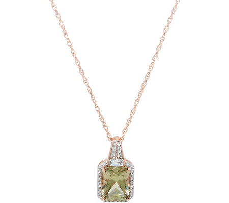 "Csarite Radiant Cut & Diamond Enhancer on 18"" Chain, 14K 3.00 cts"