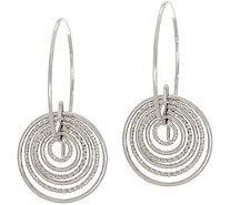 Italian Silver Cascading Hoop Earrings Sterling - J351537