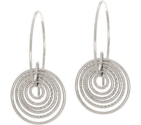 Italian Silver Cascading Hoop Earrings Sterling