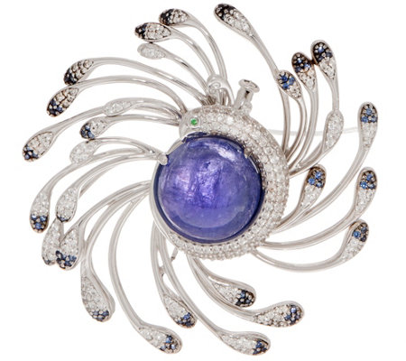 Tanzanite Cabochon & Gemstone Peacock Pin, Sterling