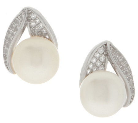 Honora Cultured Pearl & White Topaz Earrings Sterling