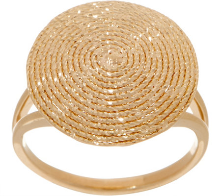 """As Is"" Italian Gold Diamond Cut Disc Ring, 14K Gold"