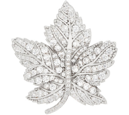 Diamonique Royal Collection Leaf Pin, Sterling