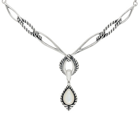 """As Is"" Carolyn Pollack Sterl. Silver Necklace w/ Mother-of- Pearl Enhancer"