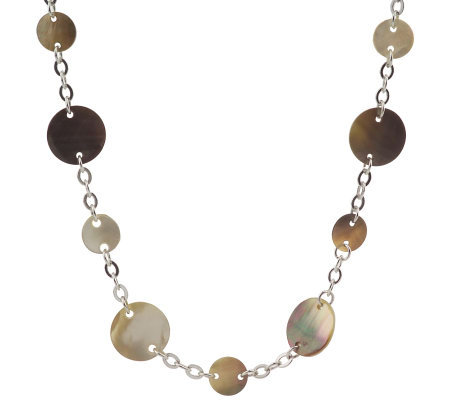 Lee Sands Mother-of-Pearl Disc & Chain 41 1/2-inch Necklace