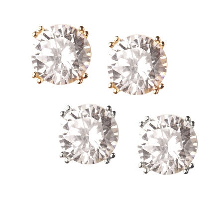 Diamonique Double Prong 3 ct tw Stud Earrings 14K Gold